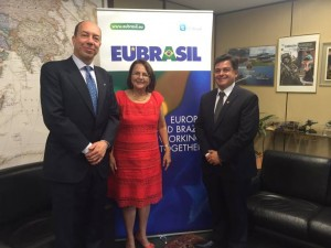 Left to right: Enrico Ponzone, EUBrasil's Director for European Affairs, Congresswoman Jô Moraes and Congressman Eduardo Barbosa.